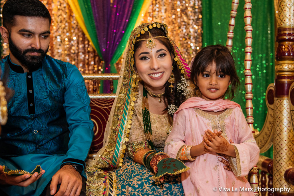 Bride with little girl at Houston Pakistani Wedding