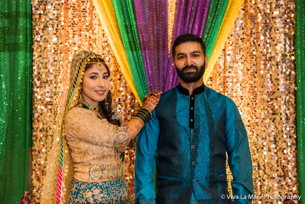 Portrait of bride and groom at Houston Pakistani Wedding