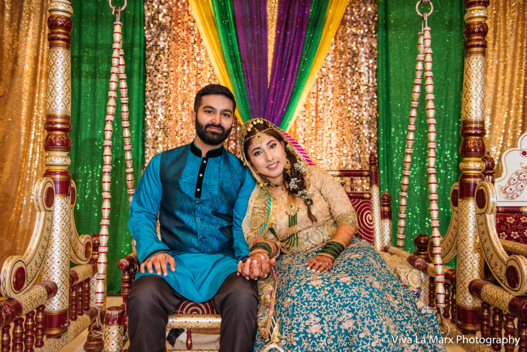 Bride and Groom posing at Houston Pakistani Wedding
