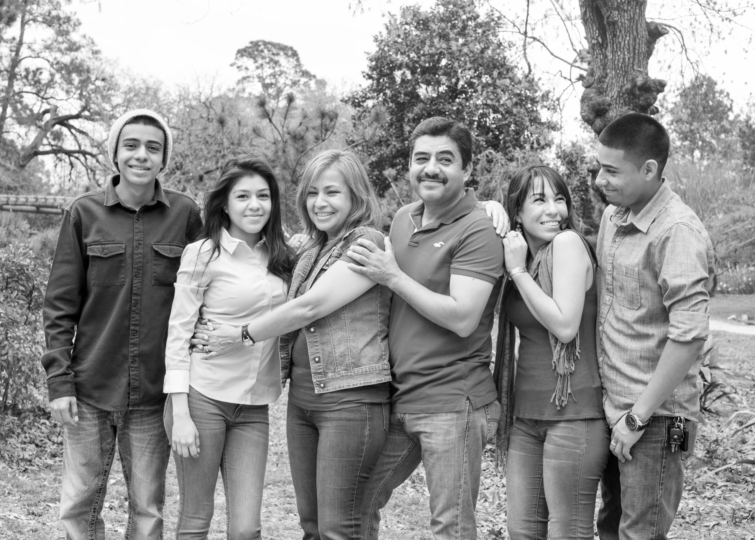 Black and white family portrait in Houston